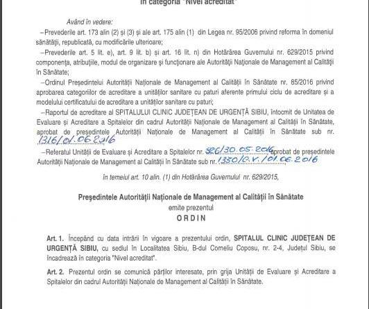 Spitalul Clinic Județean de Urgență Sibiu a fost acreditat pentru o perioadă de cinci ani